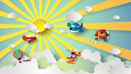 태양 광선 및 clound.paper와 하늘에 비행하는 비행기 스타일을 잘라.
