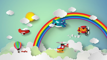 clouds in sky: plane flying on sky with rainbow and cloud.paper cut style.