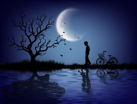 月明かりの下で一人で立って孤独な男のシルエット。  イラスト・ベクター素材