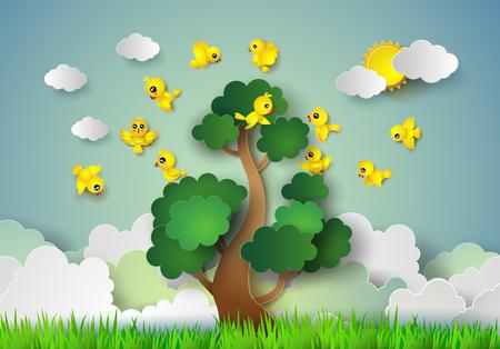arbol pájaros: pájaro que vuela alrededor de un árbol .paper estilo de corte. Vectores
