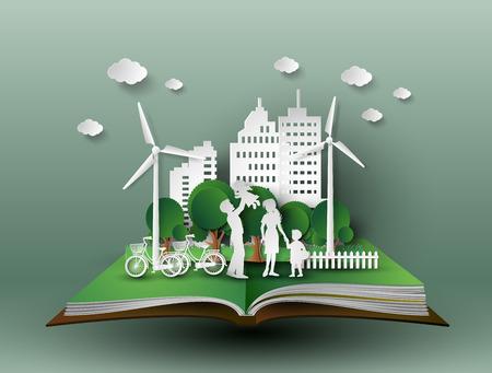 Koncepcja ekologicznego z family.paper cut stylu