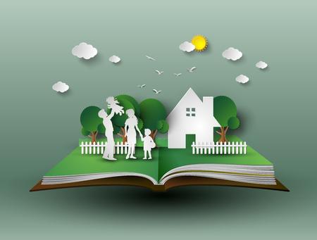 Glückliche Familie Spaß .paper schneiden Stil. Vektorgrafik