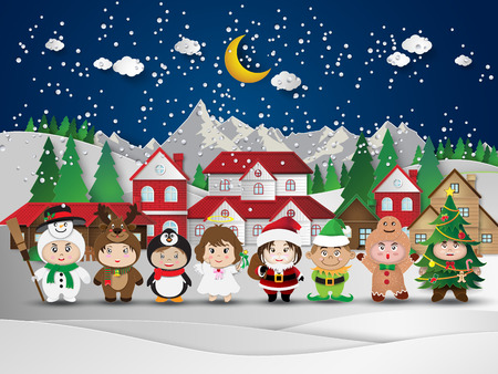Christmas cute kids.vector illustration. Çizim