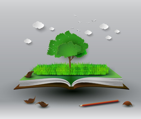 open book: concept of tree on open book Illustration