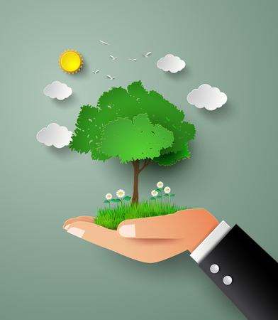 sapling: concept of eco .tree in hand