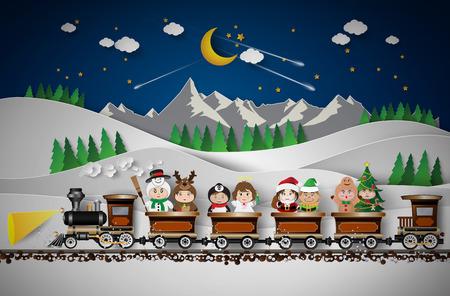Christmas  character cute kids .Vector illustration Ilustração