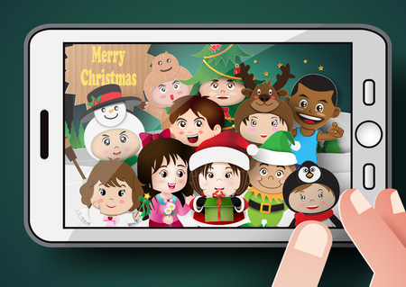 illustation: illustation of Christmas  character cute kids selfie by smartphone