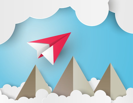 paper plane: paper plane on blue sky with clounds.