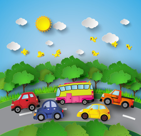 family park: car on road curve with sunshine and birds on blue sky.
