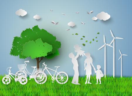 Koncepcja ekologicznego z family.paper cut stylu Ilustracje wektorowe