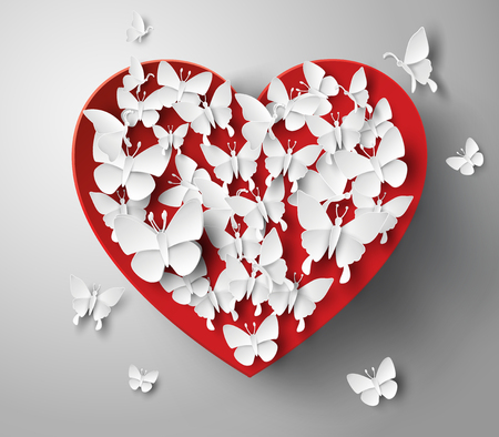 paper heart: Abstract paper heart with butterrflys. Illustration