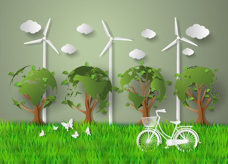 concept of eco .paper cut style