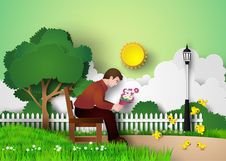 bench alone: a man sitting on the bench in a park alone Illustration
