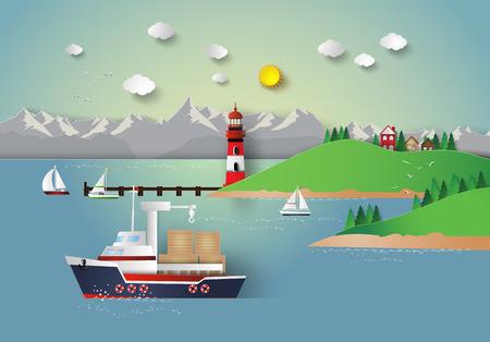 illustration of sea bay.paper cut style. 版權商用圖片 - 53326960