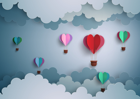 hot couple: Origami made hot air balloon in a heart shape.