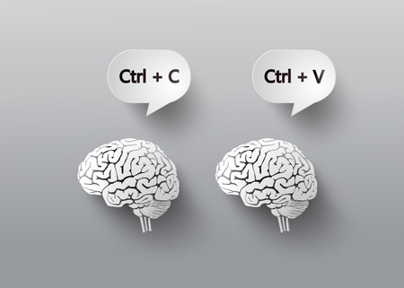 reiterate: concept with brain.C and V for copy and paste. Illustration