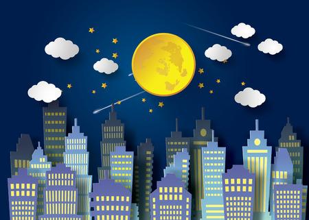 full moon night  and  urban