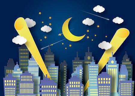 moon  metropolis: l moon night sky  and  urban