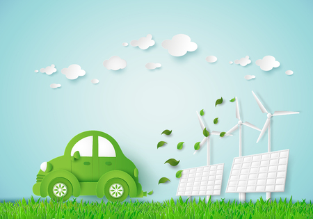 solarcell: Eco-friendly car in a green field