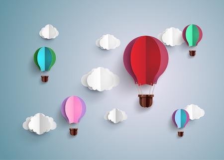 折り紙製熱気球とクラウド
