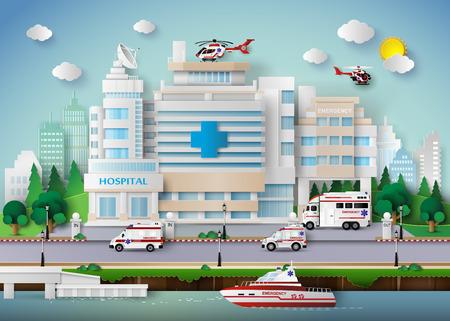 simbolo medicina: edificio del hospital y transporte de emergencia.