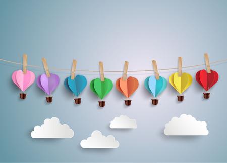 Origami maakte hete luchtballon in een hartvorm.