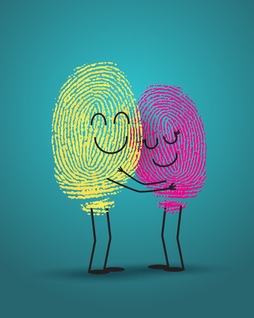 abstract paintings: concept of love with fingerprint