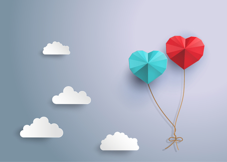 couple in summer: Origami  balloon in in the shape of heart Illustration
