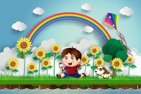 el niño jugando una cometa en el campo de flor de sol.