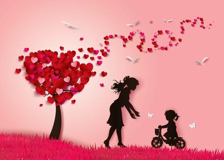Mooie vrouwen met haar daughters.happy moederdag Stock Illustratie