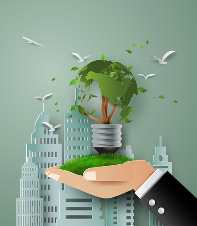 concept of eco .tree in hand
