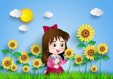 country flowers: the girl in the sun flower field.