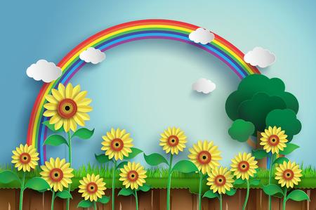rainbow sky: Sunflower field with blue sky and rainbow