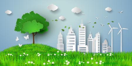 Konzept der Öko mit Gebäude und nature.paper Schnitt-Stil Vektorgrafik