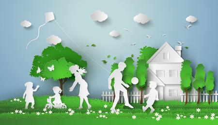 lifestile: Happy family having fun .paper cut style.