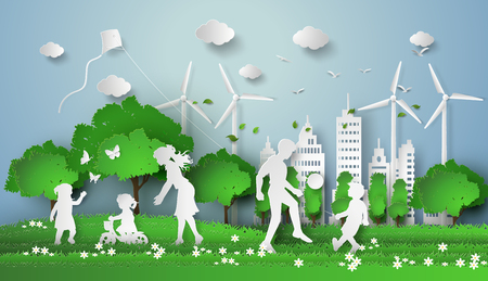 paper kites: concept of eco with family.paper cut style