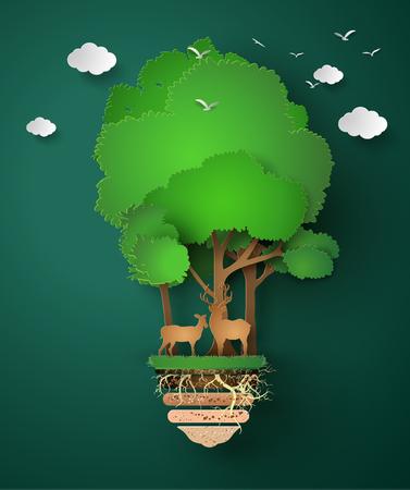 koncepcja eko .paper cięcia stylu Ilustracje wektorowe