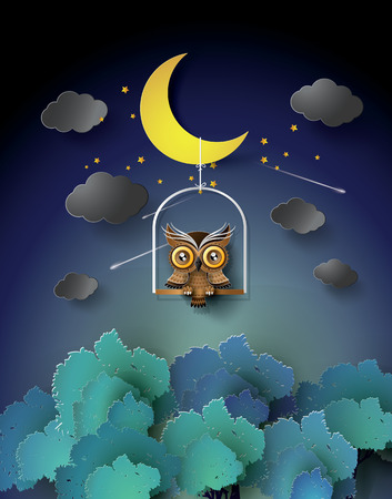 moon  metropolis: Owl standing on the cage over the jungle. Illustration