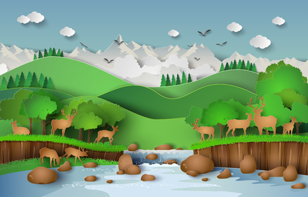 water stream: Deer in the forest with a waterfall.