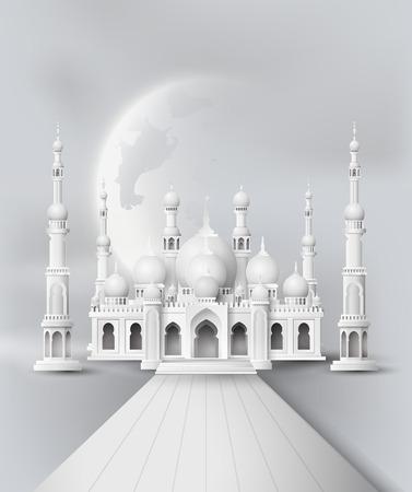 하프 문와 밤에 모스크와 하늘 일러스트