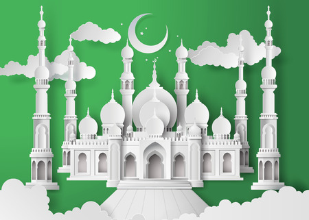 paper sculpture: The mosque and the sky at night with half moon.paper cut style. Illustration