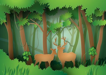fallow deer: deers in the forest.paper cut style