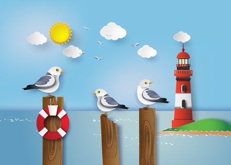 Gabbiano in piedi su un palo di legno accanto al mare Vettoriali