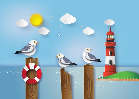 gaviota: Gaviota que se coloca en un poste de madera al lado de la orilla del mar Vectores