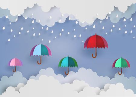 gotas de agua: Origami hizo paraguas de colores en el aire con rainning Vectores