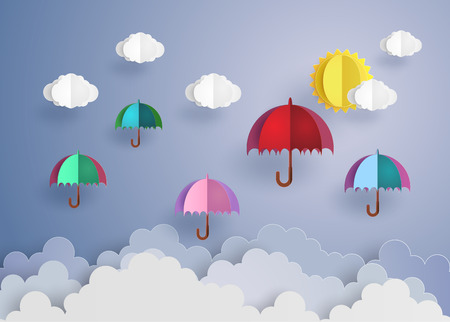 cut paper: origami made colorful umbrellas flying high in the air. Illustration
