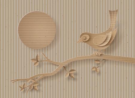 carton: cartón con el pájaro posado en una rama de un árbol.