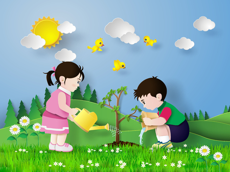 gardening: Child pouring water on the trees are growing. Illustration