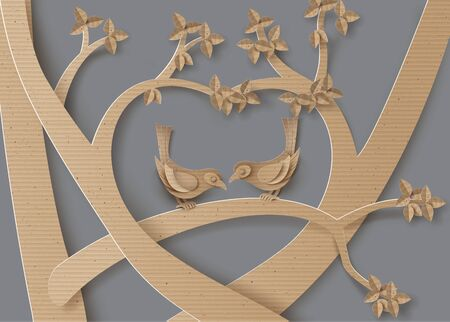 love shape: cardboard with love Birds perched on a branch of a tree forming a heart shape