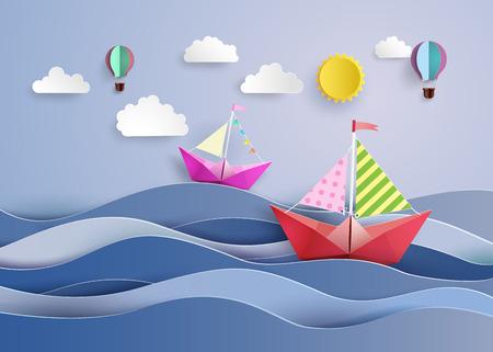 折り紙製カラフルな紙帆船とバルーン  イラスト・ベクター素材